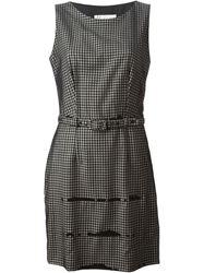 Moschino Cheap And Chic Vintage Belted Checked Dress Black