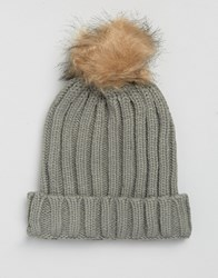 7X Cable Hat With Faux Fur Bobble In Grey Grey