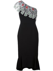 Peter Pilotto One Shoulder Evening Dress Black