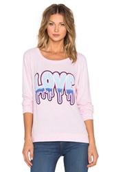 Lauren Moshi Brenna Driping Love Long Sleeve Pullover Pink