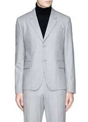 Carven Knit Back Virgin Wool Flannel Blazer Grey