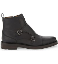 Aldo Armley Leather Double Monk Boots Black Leather