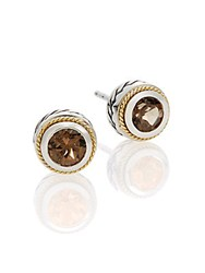 Effy Smoky Quartz Sterling Silver And 18K Yellow Gold Button Earrings