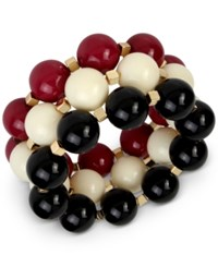 Inc International Concepts Iris X Gold Tone 3 Pc Set Large Beaded Stretch Bracelets Only At Macy's Red