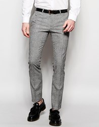 Noose And Monkey Prince Of Wales Check Trousers In Super Skinny Fit Black