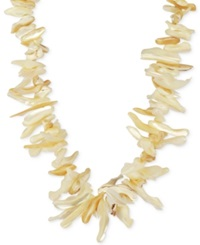 Macy's Mother Of Pearl Graduated Shell Necklace In 14K Gold Plated Sterling Silver 12 42Mm