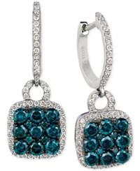 Le Vian Exotics Blue And White Diamond Drop Earrings 1 1 4 Ct. T.W. In 14K White Gold