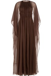 Valentino Floor Length Silk Gown With Chiffon Cape Brown