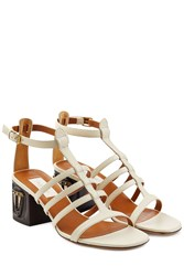 Valentino Leather Sandals With Mask Adorned Heels Beige