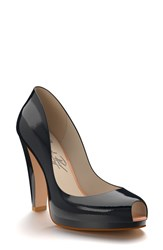 Women's Shoes Of Prey Patent Leather Peep Toe Platform Pump Midnight Blue