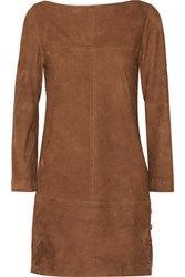 Vanessa Seward Blunt Suede Mini Dress Chocolate