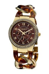 Akribos Xxiv Women's Crystal Accented Resin Chain Quartz Multifunction Watch Brown