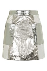 Topshop Metallic Leather Mini Skirt Silver