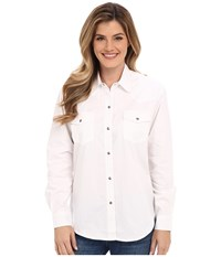 Roper Solid Poplin L S Shirt White Women's Clothing