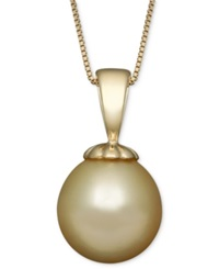 Macy's Golden South Sea Pearl 10Mm Pendant Necklace In 14K Gold