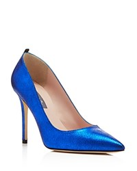 Sjp By Sarah Jessica Parker Fawn Metallic Pointed Toe High Heel Pumps Blue