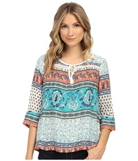 Roxy Gypsy Breeze Woven Peasant Top Sea Spray Tiered Paisley Women's Blouse Green