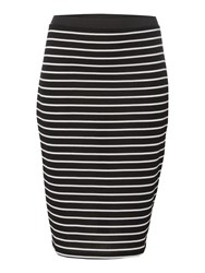Therapy Rib Pencil Stripe Skirt Black White Black White