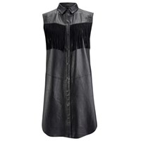 Ganni Women's Leather Fringed Shirt Dress Black