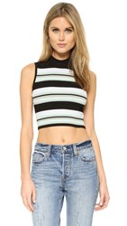Torn By Ronny Kobo Claudella Ribbed Crop Top Navy Combo