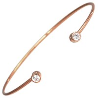 Hysteric Co. Double Bezel Bangle Bracelet Rose Gold