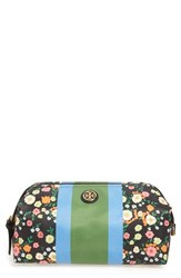 Tory Burch 'Large' Stripe And Floral Cosmetics Case