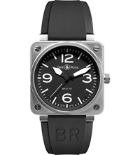 Bell And Ross Br0192 Steel And Leather Watch Black