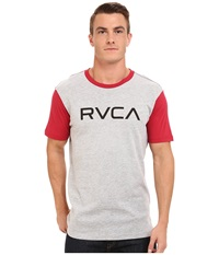 Big Rvca Baseball Tee Athletic Heather Red Men's T Shirt Gray