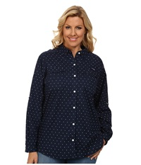 Columbia Plus Size Super Bonehead Ii L S Shirt Collegiate Navy Printed Polka Dot Women's Long Sleeve Button Up