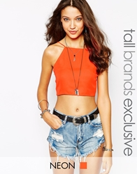 Glamorous Tall Halterneck Crop With Tie Bow Back Orange