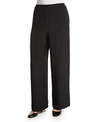 Eskandar Wide Leg Silk Crepe Trousers Black Size 0