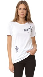 Nina Ricci Jersey Short Sleeve Tee With Embroidered Dove White