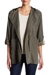Live A Little Lightweight Tie Front Hooded Anorak Petite Green