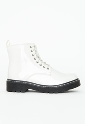 Missguided Lace Up Rubber Sole Boots Patent White White