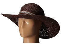 Karen Kane Wide Brim Raffia Floppy Cocoa Caps Brown
