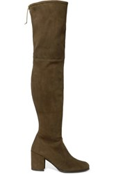 Stuart Weitzman Tieland Stretch Suede Over The Knee Boots Army Green