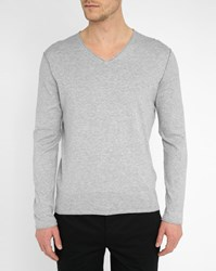 Harris Wilson Mottled Grey Cotton Rolled V Neck Sweater