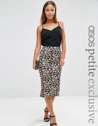 Asos Petite Scuba Pencil Skirt In Animal Print Animal Multi