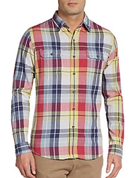 Tailor Vintage Regular Fit Madras Plaid Sportshirt Yellow Red