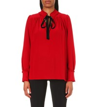 Roberto Cavalli Ruffled Silk Blouse Red