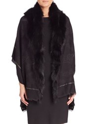 Roberto Cavalli Wool Blend And Fox Fur Shawl Black