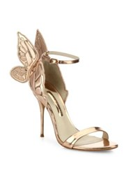 Sophia Webster Chiara Mid Heel Wing Embroidered Metallic Leather Sandals Gold