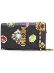 Moschino Jewel Print Wallet Crossbody Bag Black