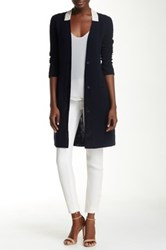 Ports 1961 Double Gauze Wool Blend Single Breasted Coat Blue