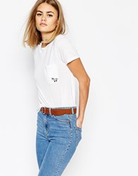 Daisy Street T Shirt With Unicorn Embroidery White
