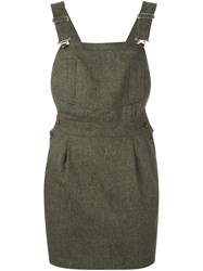 Olympia Le Tan Tweed Dungaree Dress Brown
