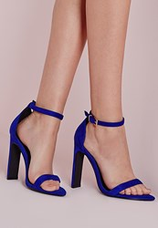 Missguided Pointed Toe Barely There Heeled Sandals Blue Blue
