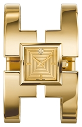 Tory Burch 'Sawyer' Square Bangle Watch 20Mm Gold