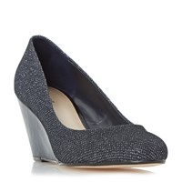 Linea Bora Round Toe Wedge Court Shoes Navy