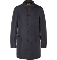 Tod's Leather Trimmed Padded Shell Raincoat Blue